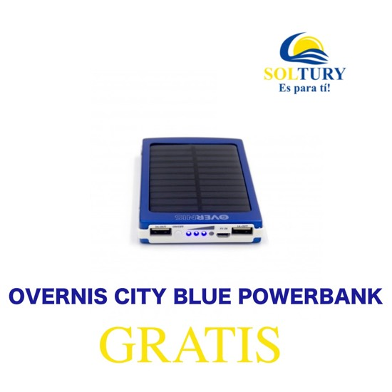 0 Foto del cargador Solar OVERNIS CITY BLUE POWERBANK